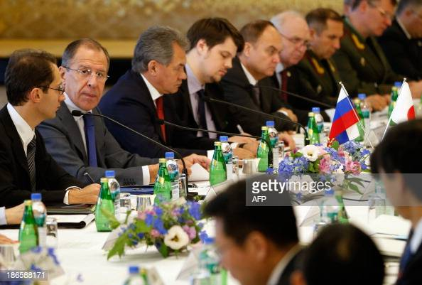Russia's Foreign Minister Sergey Lavrov and Defence Minister Sergei Shoigu attend the JapanRussia foreign and defence ministers meeting 'twoplustwo'...