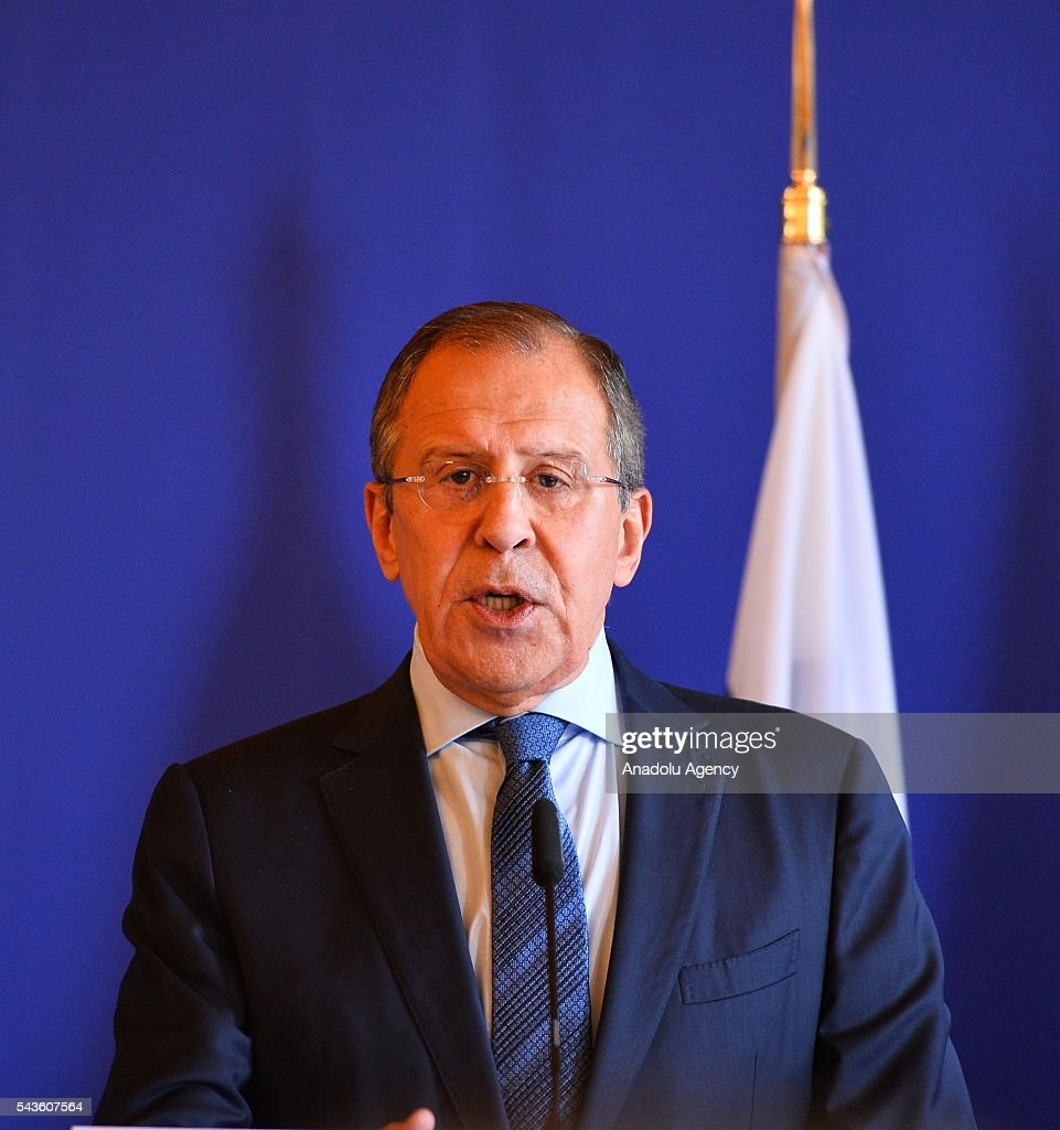 Russia's Foreign Minister Sergey Lavrov and French Foreign Minister Jean-Marc Ayrault (not seen) hold a press conference after their meeting in Paris, France on June 29, 2016.