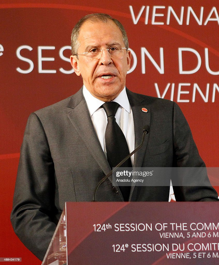 Russia's Foreign Minister Sergey Lavrov speaks during a press conference following the 124th Session of the Committee of Ministers of the Council of...