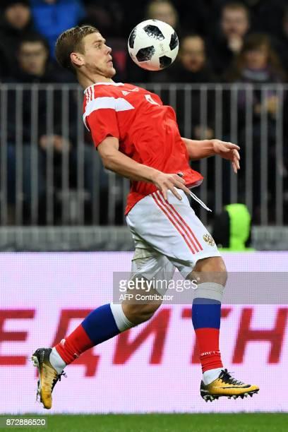 Russia's forward Alexander Kokorin controls the ball during an international friendly football match between Russia and Argentina at the Luzhniki...