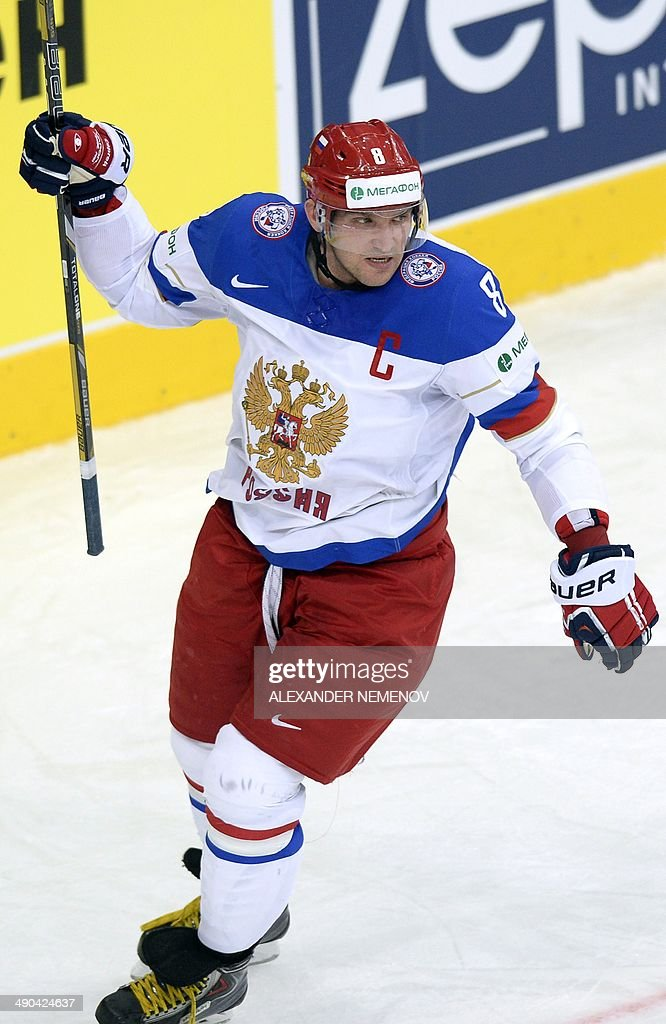 Russia's forward Alexander Ovechkin celebrates a goal during a preliminary round group B game Russia vs Kazakhstan of the IIHF International Ice Hockey World Championship in Minsk on May 14, 2014.