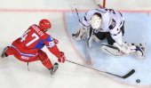 Russia's forward Alexander Radulov fails to score past US goalkeeper John Gibson as USA defeated team Russia 83 during a quarterfinal game of the...