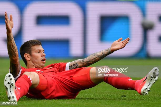 Russia's forward Fedor Smolov reacts during the 2017 Confederations Cup group A football match between Mexico and Russia at the Kazan Arena Stadium...