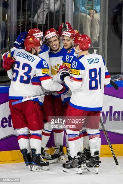 Russia´s forward Nikita Gusev celebrates scoring his teams second goal during the IIHF Men's World Championship Ice Hockey semifinal match between...