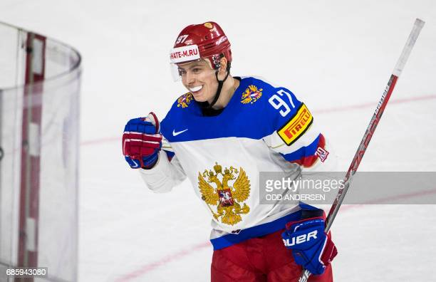 Russia´s forward Nikita Gusev scores his teams second goal during the IIHF Men's World Championship Ice Hockey semifinal match between Canada and...