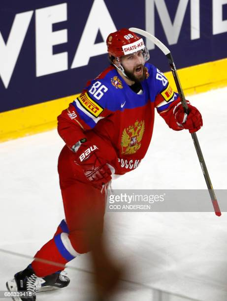 Russias forward Nikita Kucherov reacts after scoring during the IIHF Men's World Championship Ice Hockey bronze medal match between Russia and...