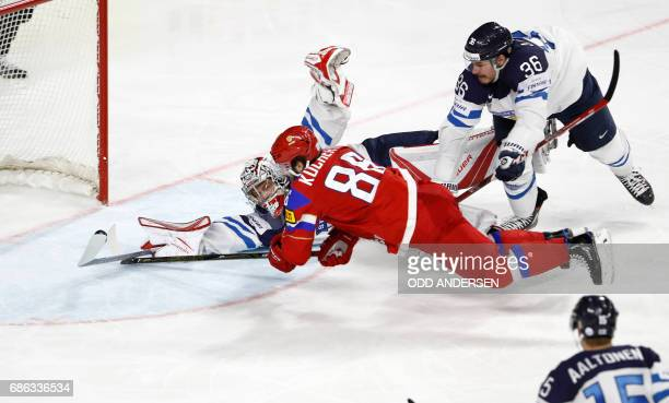 Russias forward Nikita Kucherov scores 53 during the IIHF Men's World Championship Ice Hockey bronze medal match between Russia and Finland in...
