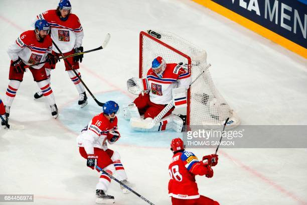 Russia's forward Nikita Kucherov scores a goal during the IIHF Men's World Championship quarter final ice hockey match Russia vs Czech Republic on...