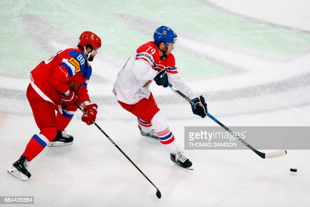 Russia's forward Nikita Kucherov vies with Czech Republic's forward Tomas Zohorna during the IIHF Men's World Championship quarter final ice hockey...