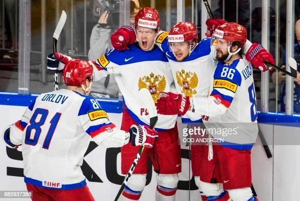 TOPSHOT Russia´s forward Yevgeni Kuznetsov celebrates scoring the opening goal during the IIHF Men's World Championship Ice Hockey semifinal match...