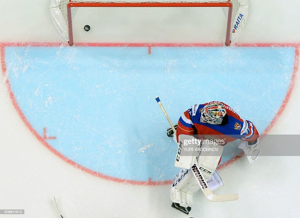 Russia's goalie Sergei Bobrovski lets the puck into his net during the group A preliminary round game Czech Republic vs Russia at the 2016 IIHF Ice Hockey World Championship in Moscow on May 6, 2016. / AFP / YURI