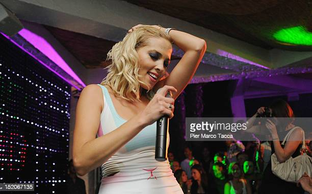 Russia's group Serebro perform at Le Rotonde discotheque on September 15 2012 in Garlasco Italy