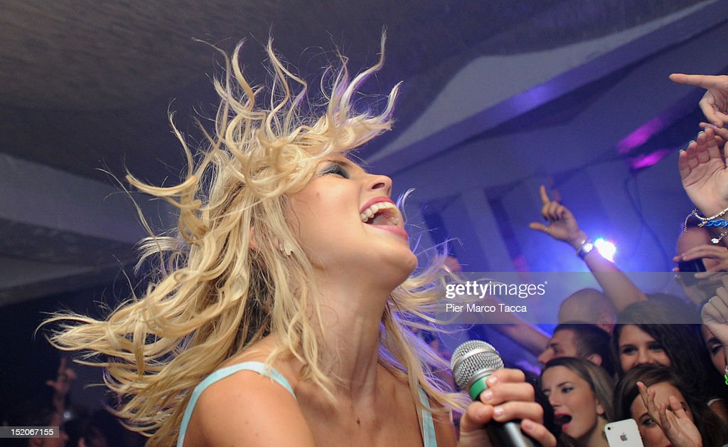 Russia's group Serebro performs at Le Rotonde discotheque on September 15, 2012 in Garlasco, Italy.