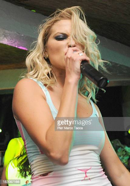 Russia's group Serebro performs at Le Rotonde discotheque on September 15 2012 in Garlasco Italy