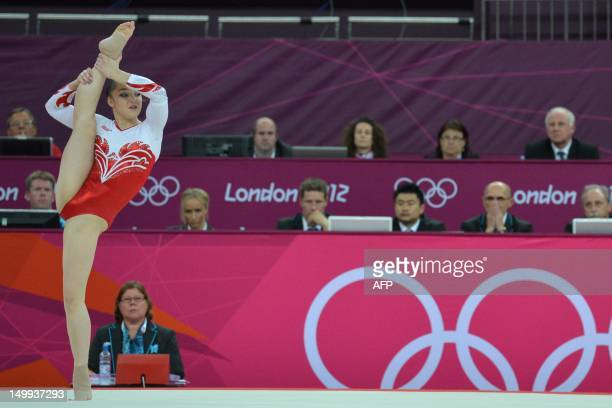 Russia's gymnast Aliya Mustafina performs during the women' s floor exercise final of the artistic gymnastics event of the London Olympic Games on...