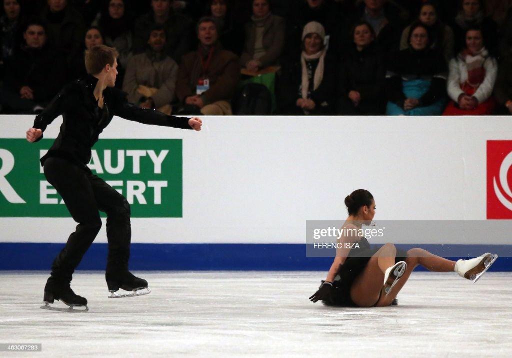 Russia's ice dance pair Elena Ilinykh and Nikita Katsalapov perform their free dance programme during the ISU European Figure Skating Championships on January 16, 2014 in Budapest, Hungary.