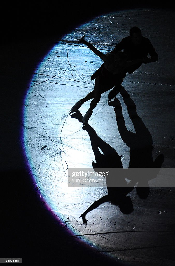 Russia's ice dancers Ekaterina Bobrova and Dmitri Soloviev perform during the gala-exhibition at the ISU Grand Prix of Figure Skating Final in Sochi on December 9, 2012. AFP PHOTO/ YURI KADOBNOV