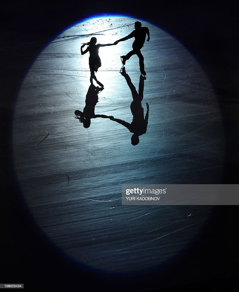 Russia's ice dancers Ekaterina Bobrova and Dmitri Soloviev perform during the gala-exhibition at the ISU Grand Prix of Figure Skating Final in Sochi on December 9, 2012.