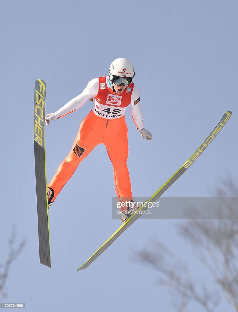 Russia's Irina Avvakumova competes during the second round of the women's ski jumping world cup in Hinzenbach, Upper Austria on February 6, 2016. / AFP / APA / BARBARA GINDL / Austria OUT