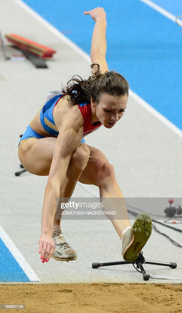 Russia's Irina Gumenyuk competes to place 2nd in the Women's Triple Jump Final at the European Indoor athletics Championships in Gothenburg, Sweden, on March 3, 2013.