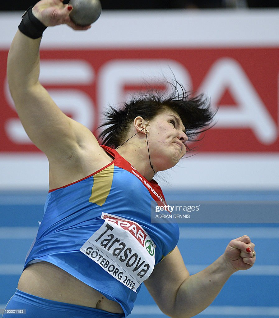 Russia's Irina Tarasova competes in the Women's Shop Put Final event at the European Indoor athletics Championships in Gothenburg, Sweden, on March 3, 2013.