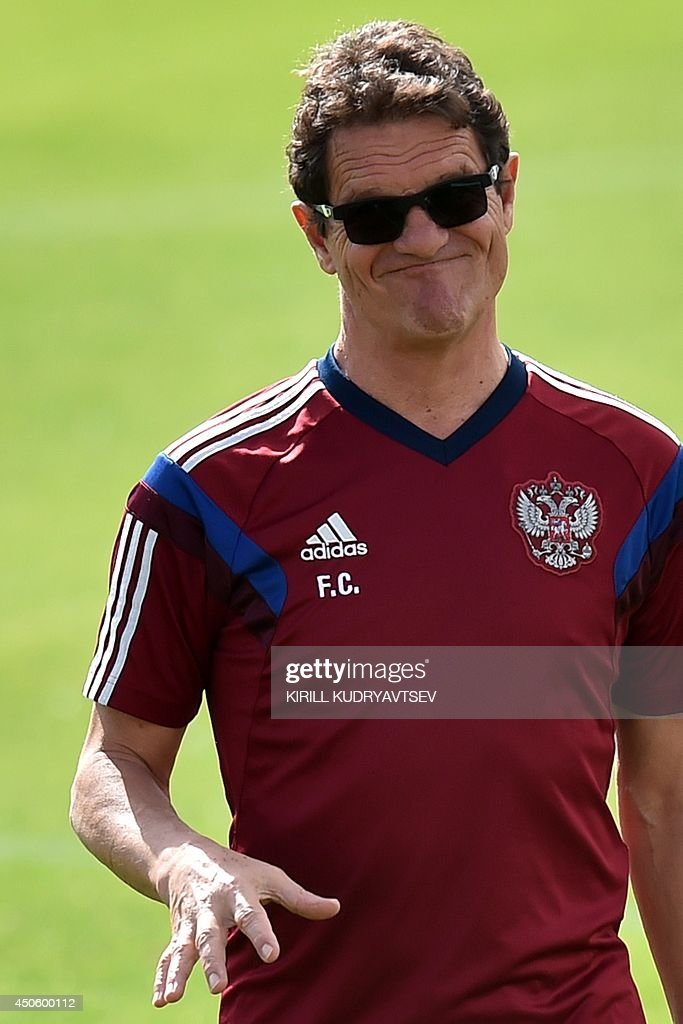 Russia's Italian coach Fabio Capello gestures during a training session at the Estadio Novelli Jr in Itu on June 14, 2014 during the 2014 FIFA World Cup football tournament in Brazil.