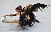 Russia's Jana Khokhlova and Sergei Novitski perform their free dance at the Dom Sportova Arena in Zagreb 25 January 2008 during the European Figure...