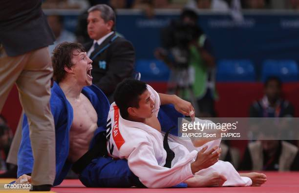 Russia's Judo player Ivan Nifontov celebrates his bronze medal win in the 81kg against Japan's Takahiro Nakai at the ExCel Arena London during day...
