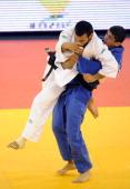 Russia's Kamal KhanMagomedov fights with Georgia's Lasha Shavdatuashvili during the final of the Judo European Championships in 66kg category for men...