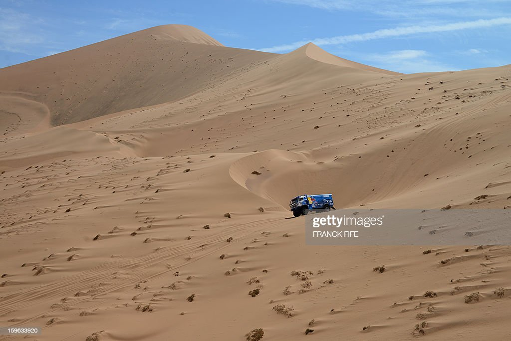 Russia's Kamaz driver Ayrat Mardeev competes during the Stage 12 of the 2013 Dakar Rally between Fiambala in Argentina and Copiapo in Chile, on January 17, 2013. The rally is taking place in Peru, Argentina and Chile from January 5 to 20. AFP PHOTO / FRANCK FIFE