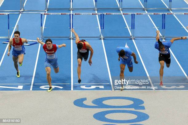 Russia's Konstantin Shabanov Russia's Sergey Shubenkov Germany's Erik Balnuweit Italy's Paolo Dal Molin and France's Pascal Martinot Lagarde during...