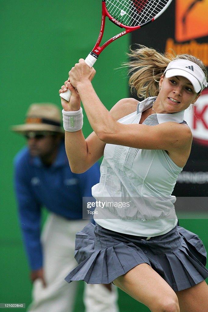 Russia's <a gi-track='captionPersonalityLinkClicked' href=/galleries/search?phrase=Maria+Kirilenko&family=editorial&specificpeople=211512 ng-click='$event.stopPropagation()'>Maria Kirilenko</a> during her second round win against Ukraine's Julia Vakulenko at the 2007 Australian Open at Melbourne Park in Melbourne, Australia on January 17, 2007. Kirilenko defeated Vakulenko 4-6, 6-3, 6-4.