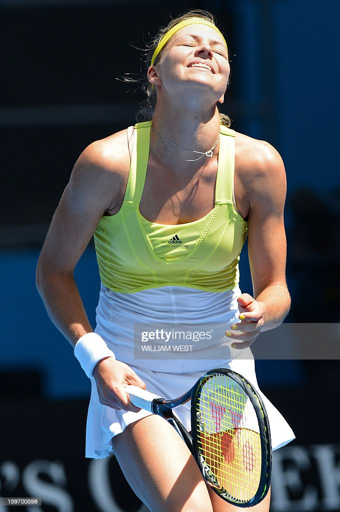 Russia's Maria Kirilenko reacts after a point against Belgium's Yanina Wickmayer during their women's singles match on day six of the Australian Open tennis tournament in Melbourne on January 19, 2013.
