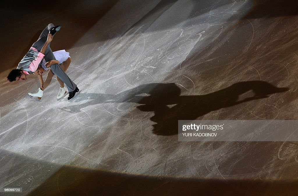Russia's Maria Mukhortova and Maxim Trankov perform during the exhibition gala of the World Figure Skating Championships on March 28, 2010 at the Palavela ice-rink in Turin.