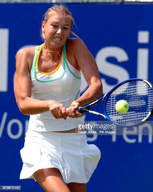 Russia's Maria Sharapova in action against Luxembourg's Anne Kramer