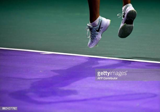 Russia's Maria Sharapova in action during her women's singles first round tennis match against Slovakia's Magdalena Rybarikova at the Kremlin Cup...