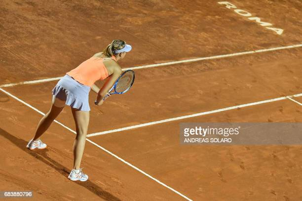 Russia's Maria Sharapova waits for a serve by Mirjana LucicBaroni of Croatia during their Rome ATP Tennis Open tournament on May 16 2017 at the Foro...