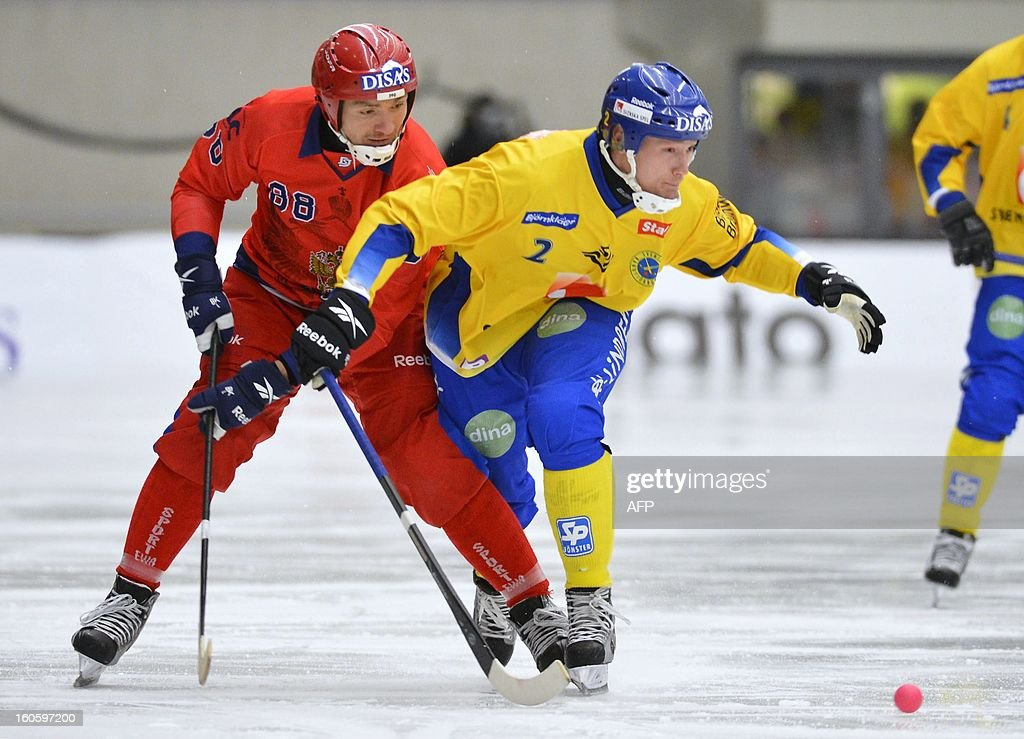 Russia's Maxim Ishkeldin (L) and Sweden's Olov Englund vie during Bandy World Championship final match Sweden vs Russia in Vanersborg, Sweden, February 3, 2013.