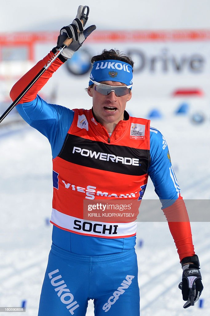 Russia's Maxim Vylegzhanin reacts after 6 x 1,8 km Men's Classic Team Sprint of FIS Cross Country skiing World Cup at Laura Cross Country and Biathlon Center in Russian Black Sea resort of Sochi on February 3, 2013. Russia's Maxim Vylegzhanin and Dmitry Japarov took the first place ahead of Sweden's Teodor Peterson and Emil Joensson and Germany's Axel Teichmann and Tobias Angerer .