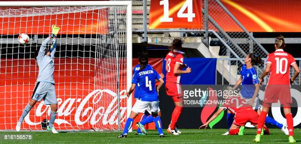 Russia's midfielder Elena Morozova scores during the UEFA Women's Euro 2017 football tournament match between Italy and Russia at Stadium Sparta...