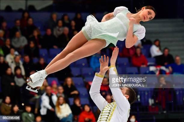 TOPSHOT Russia's Natalia Zabiiako and Alexander Enbert compete in the pairs short program at the ISU World Figure Skating Championships in Helsinki...