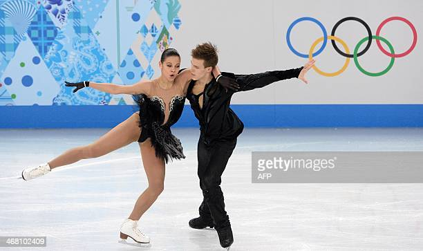 Russia's Nikita Katsalapov and Russia's Elena Ilinykh perform in the Figure Skating Team Ice Dance Free Dance at the Iceberg Skating Palace during...