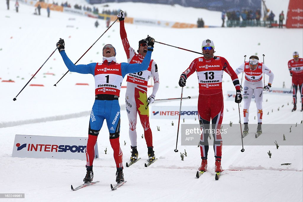 Russia's Nikita Kriukov (L) celebrates on February 21, 2013 as he crosses the finish line ahead of Canada's Alex Harvey (2ndL), Norway's Petter Northug (C), Sweden's Emil Joensson (2ndR) and Norway's Paal Golberg during the Men's Cross Country 1.5km sprint final race of the FIS Nordic World Ski Championships at Val Di Fiemme Cross Country stadium in Cavalese, northern Italy.