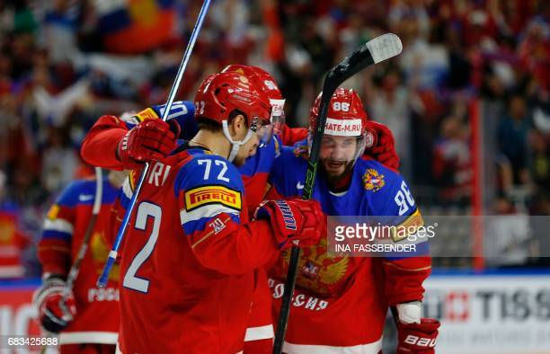 Russia's Nikita Kucherov celebrates scoring with his teammates during the IIHF Men's World Championship Ice Hockey match between Russia and Latvia in...
