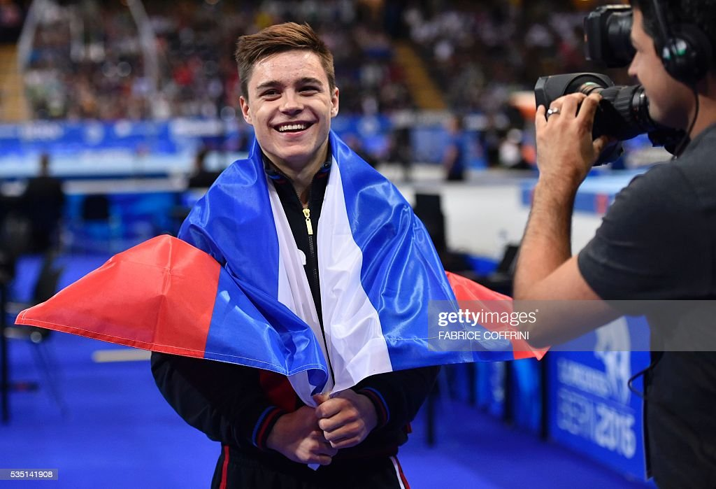 Russias Nikita Nagornyy celebrates winning the Mens Floor competition of the European Artistic Gymnastics Championships 2016 in Bern, Switzerland on May 29, 2016. / AFP / FABRICE