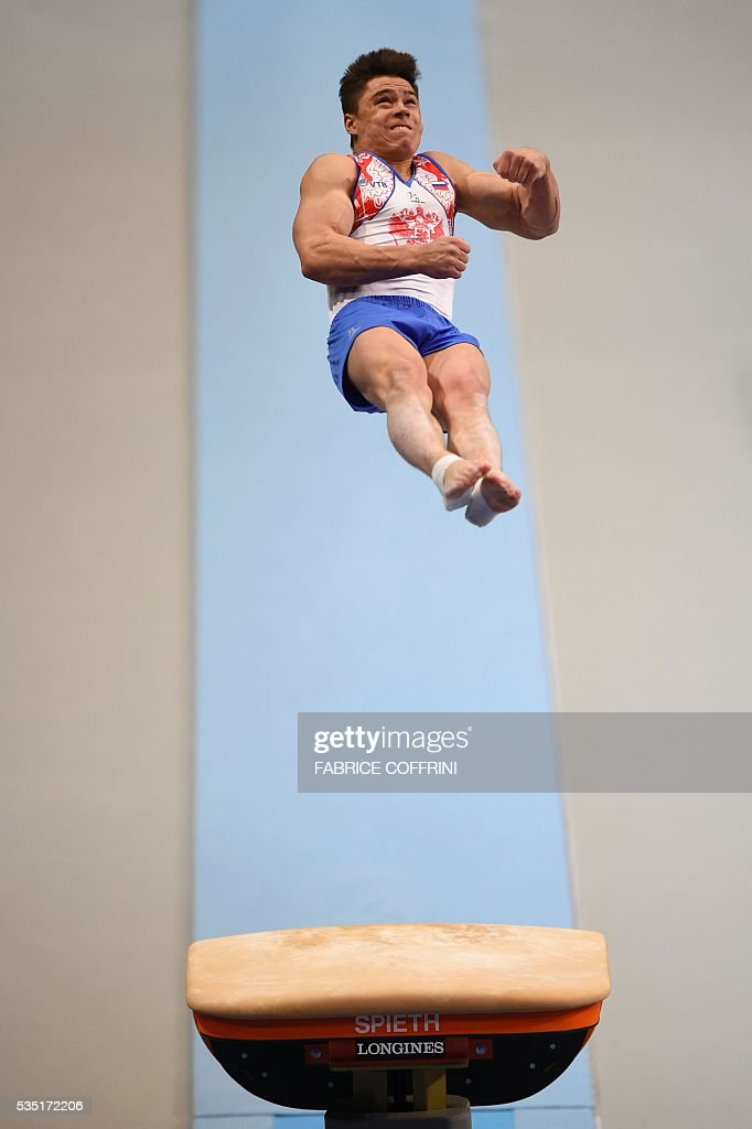 Russias Nikita Nagornyy performs during the Mens Vault competition of the European Artistic Gymnastics Championships 2016 in Bern, Switzerland on May 29, 2016. / AFP / FABRICE