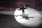 Russia's Oksana Domnina and Maxim Shabalin perform an exhibition program at the Dom Sportova Arena in Zagreb 27 January 2008 during the gala of the...
