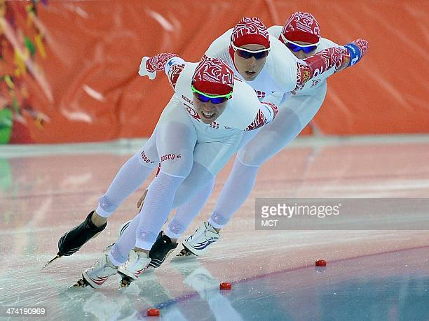 Russia's Olga Graf Yekaterina Lobysheva and Yekaterina Shikhova skate in the Final B of the ladies team pursuit at Adler Arena at the Winter Olympics...