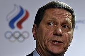 Russia's Olympic Committee president Alexander Zhukov speaks to the media at the end of a ROC executive board extraordinary meeting in Moscow on...