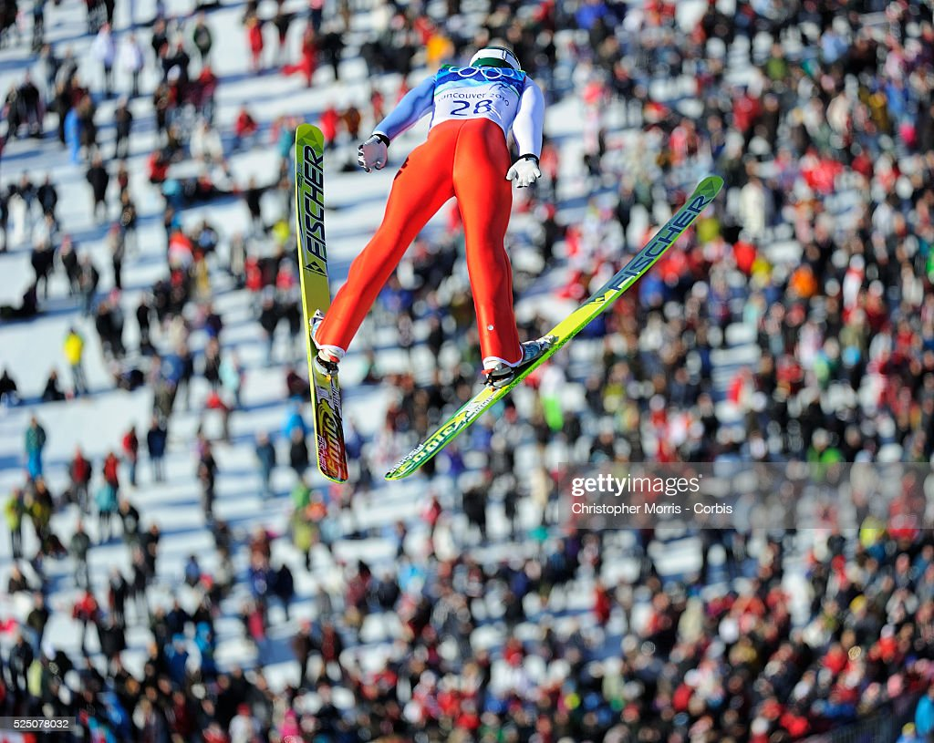 Russia's Pavel Karelin during the qualification round for the long hill individual ski jumping at Whistler Olympic Park on day 8 of the Vancouver...